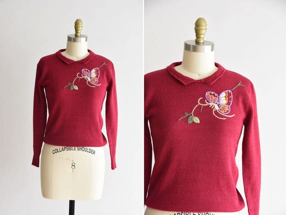 1950s Butterflies in Winter knit/ vintage 50s knit