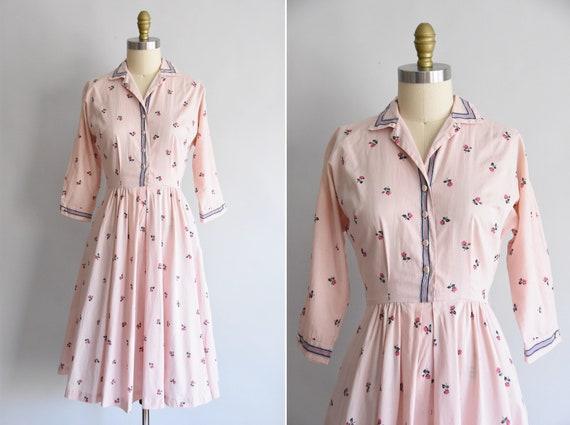 1950s Rosy Cheeks dress / vintage 50s rose dress/