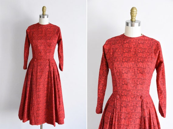 1950s Little Red City dress/ vintage 50s novelty d