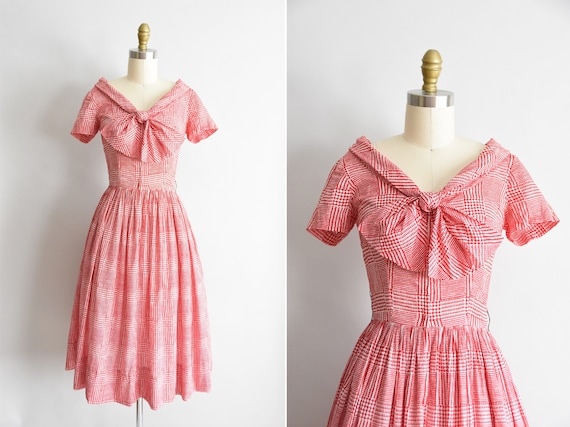 1950s Red Rover dress / vintage 50s cotton daydres