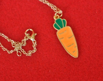 Carrot Charms Enamel Vegetable Pendant 35mm x 11mm Orange Charm