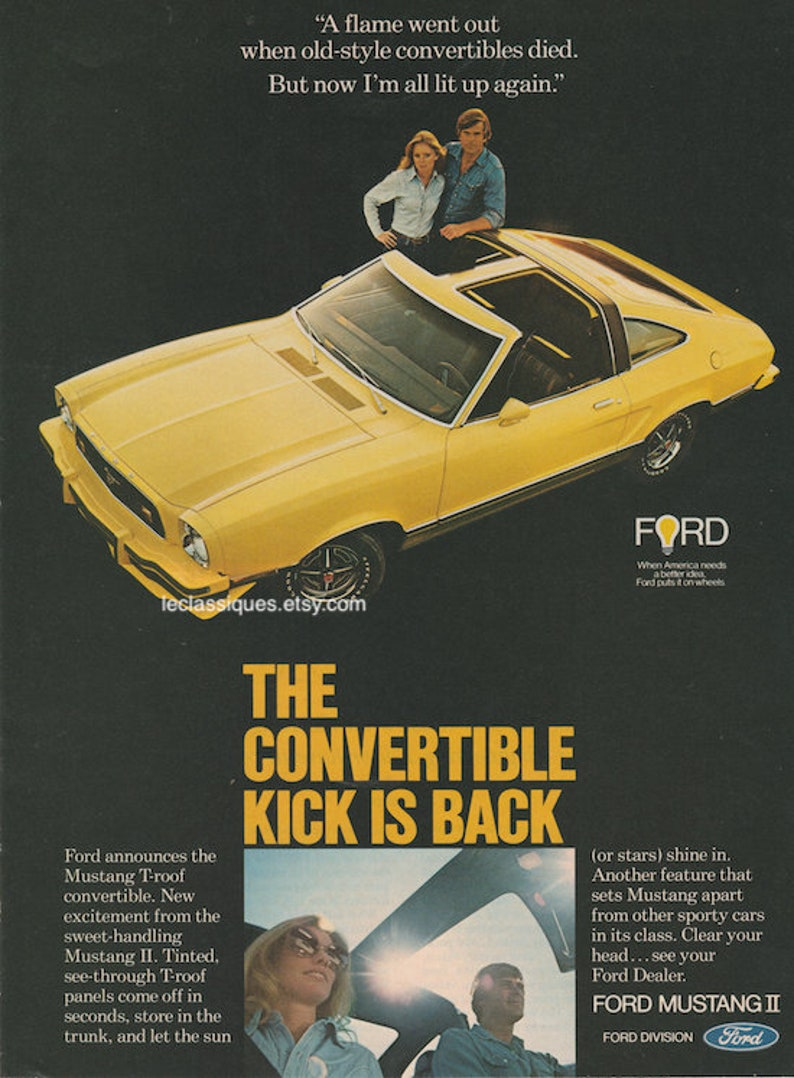 Vintage Ford Convertible Ad 1970s Etsy