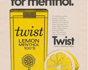 Vintage Twist Lemon Menthol Cigarette Ad 1970s