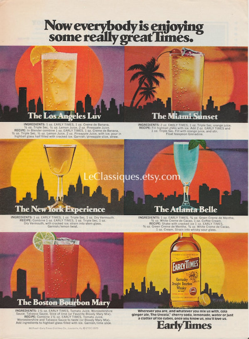 Vintage Early Times Whisky Ad 1970s