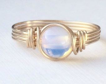 Opal Ring, Opalite Ring, 14k Gold Filled Ring, October Birthstone Ring, Wire Wrapped Ring, Gold Ring, Opal Ring