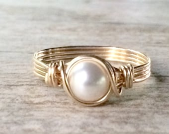 Pearl Ring, Gold Wire Wrapped Ring, 14k Gold Filled Ring, Gold Pearl Ring, June Birthstone Ring, Bridesmaid Gift, Gift for her