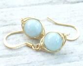 Aquamarine Earrings, Aquamarine Jewelry, Gold Jewelry