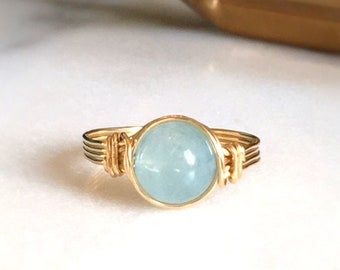 Aquamarine Ring, 14k Gold Filled Ring, Wire Wrapped Ring, Gemstone Ring, Stone Ring