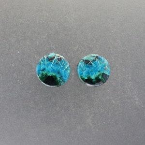 Malachite Chrysocolla 516 0g Ear plugs one pair