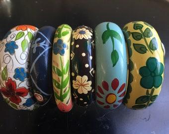 REDUCED!!: Fun Vintage/Mod/Boho Lot of 6 Handpainted/Laquered Colorful Floral Wood Bangle Bracelets