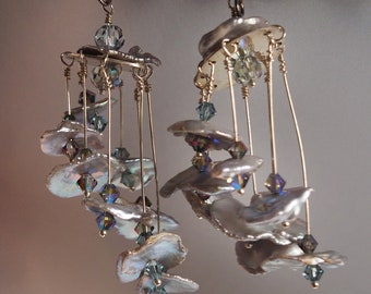 Silver Grey Keishi  Freshwater Pearl Art Mobile Earrings