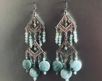 Lush Sterling Silver Larimar and Amazonite Dangler Earrings