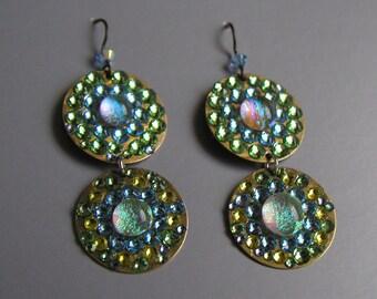 Super Disco Danglers with Iridescent Glass and Green Gold Swarovski Sparkle