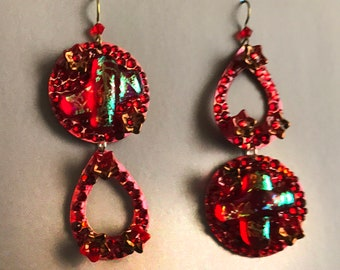 Super Disco Danglers with Fused Glass, Vintage Beads and AB Swarovski Sparkle