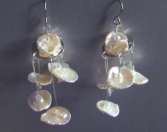 Cream  Freshwater Pearl Art Mobile Earrings