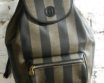 Fendi backpack pequin striped vtg rare 231a87010fd13