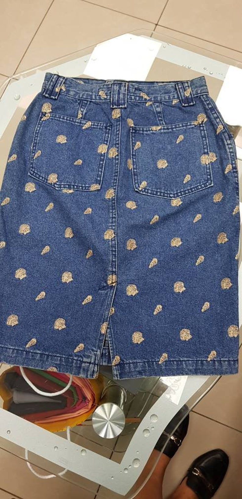 Jeans skirt high waist vintage