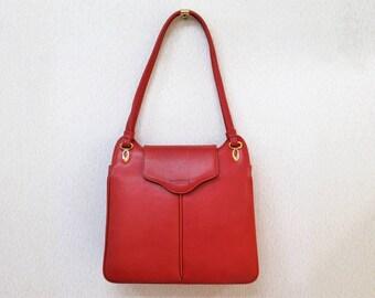 Pierre Balmain red leather lux handbag vtg