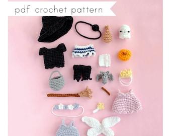 Halloween Costumes for mini dress up doll amigurumi pattern. Pdf crochet pattern. COSTUMES ONLY