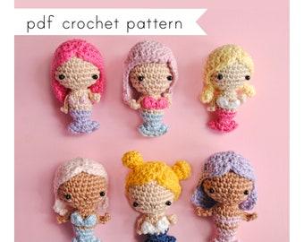 Tiny mermaid doll amigurumi pattern. Pdf crochet pattern