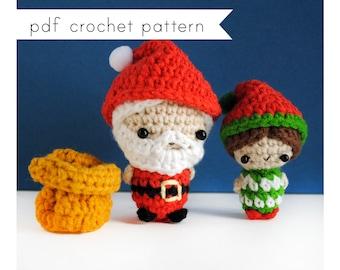 Santa Claus and elf amigurumi pattern. Pdf crochet pattern