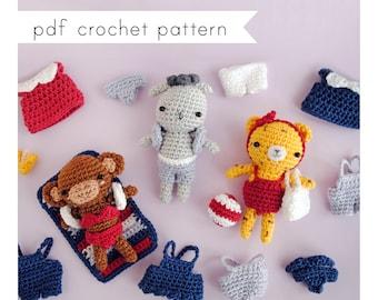 Amigurumi animals in summer outfits pattern. Pdf crochet pattern. Mini Dress up Dolls.