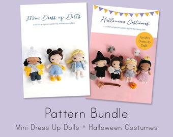 Mini dress up dolls + Halloween Costumes amigurumi patterns. Pdf crochet pattern.