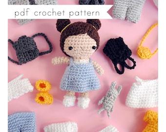 Mini dress up doll amigurumi pattern. Pdf crochet pattern
