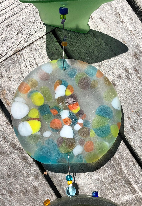 glass wind chimestained glassrecycledglasswine bottlebeach glassweddinghome decorwinewindchimes suncatcherbottle bottomhalloween