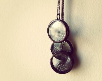 Antique Copper Glass Shadow Box Locket Necklace, Feather Locket Pendant, Glass Shadow Box Locket