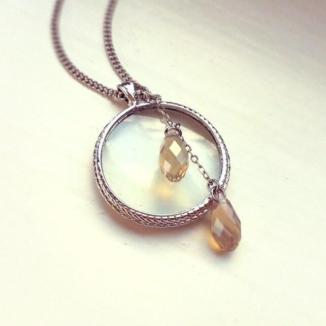 Collar de la lupa plateado colgante de monóculo perlas de | Etsy