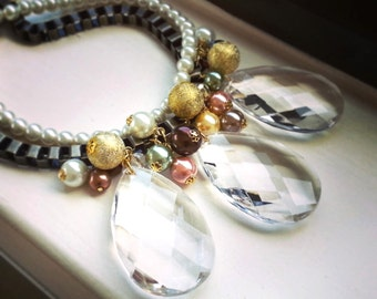Antique Bronze Chandelier Crystal Prism Bib Necklace, multi colored glass pearls with antique bronze box chain
