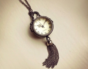 Pocket Watch, Time piece, Antique Gunmetal Globe Bubble Glass Pocket Watch Tassel Necklace