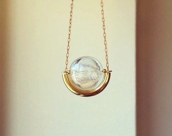 Silver Foil Lampwork Glass Bead and Gold Tube Necklace, Curved brass tube, Antique gold cable chain