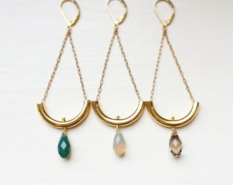Swarovski Crystal Briolette and Gold Tube Dangle Earrings, Chandelier earrings, Curved brass tube, Antique gold cable chain