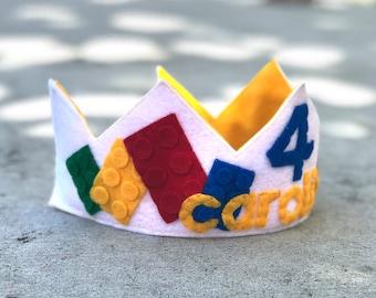 Personalized Lego Felt Birthday Crown