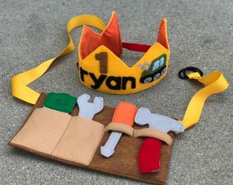 Big Truck Theme Felt Birthday Crown and Felt Tool Belt - Boys Birthday Crown - Big Machine Birthday - Construction Birthday Crown