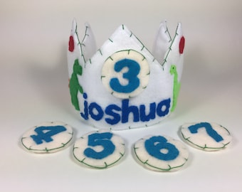 Personalized Felt Birthday Crown, Multiple Numbers - Dinosaur Crown - Dinosaur Birthday