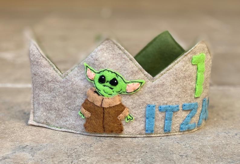 Baby Yoda Themed Felt Birthday Crown Party Hat Smash Cake ...