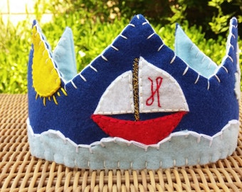 Nautical Felt Birthday Crown - Smash Cake - Boat and Ocean Themed Crown