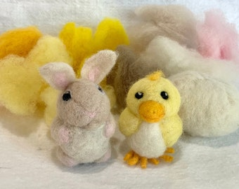 Bunny and Chick -- Easter Needle Felting Kit with Video Tutorials
