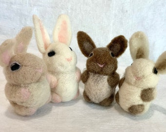 Needle Felted Baby Bunny Figure for Spring