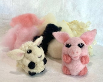 Lamb and Pig Needle Felting Kit with Video Tutorials