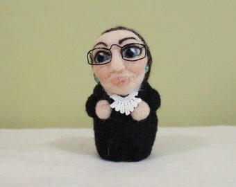 Ruth Bader Ginsburg RBG Needle Felted Shero Sculpture Feltie Figurine
