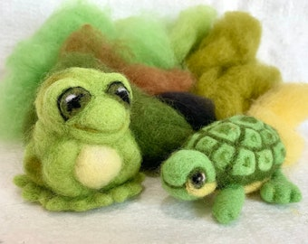 Frog and Turtle Needle Felting Kit with Video Tutorials