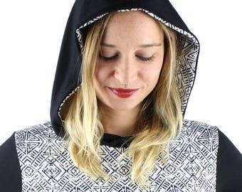 hoodedpetrol black white longsleeve ethno pattern streetwear berlin jaqueen
