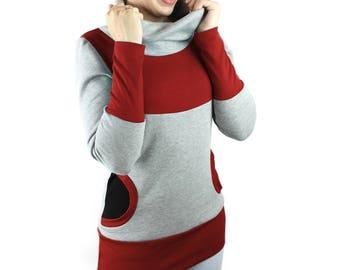 collar sweater light gray black red sweat winter unique streetwear