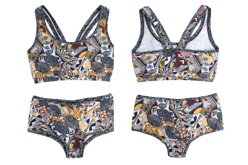 african style sports bra and panty womens lingerie handmade with love  Berlin ladies undercloth ethnic patterns stylish underwear set
