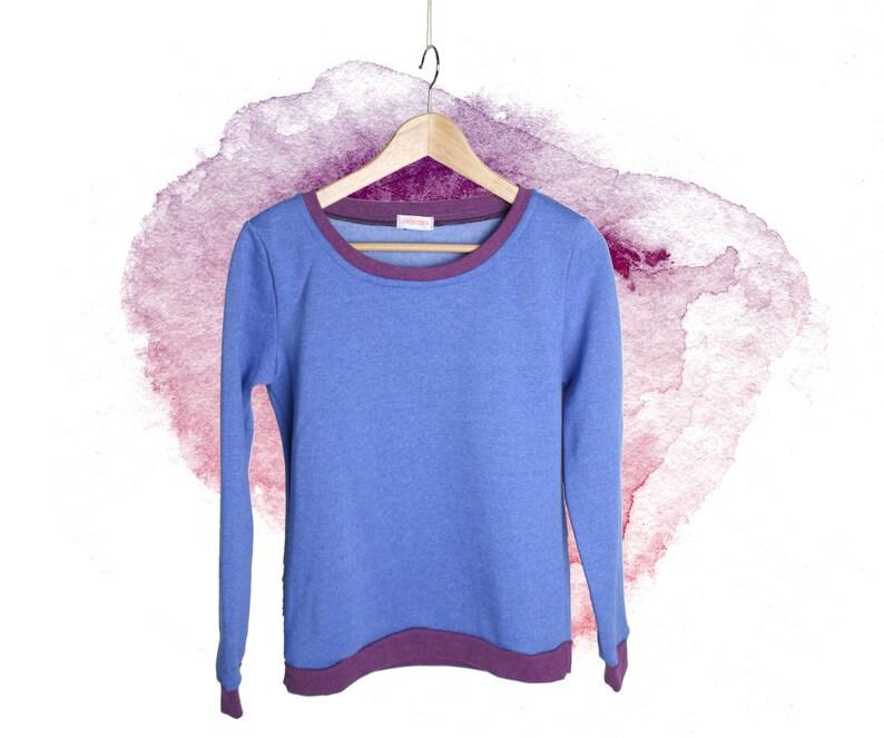 sweatshirt woman women sweater aubergine blue size S fair fashion longsleeve fashion handmade Berlin slowfashion longarmed shirt
