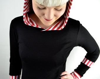 women striped jersey longsleeve, black white red, handmade in Berlin Germany, fair fashion, woman longsleeves